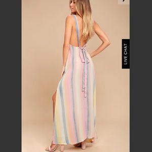 BILLABONG SKY HIGH LIGHT PINK STRIPED MAXI DRESS
